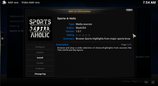 Watching Sports on XBMC