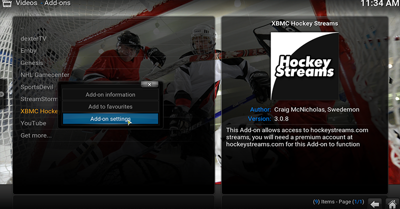 Configuring Options for hockeystreams in Kodi