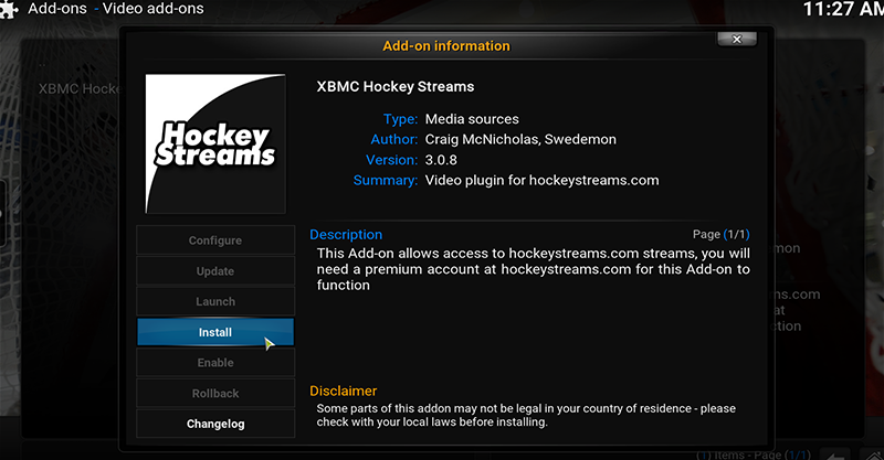 Installing Hockeystreams