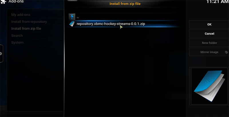 Step 5 to Install Hockeystreams