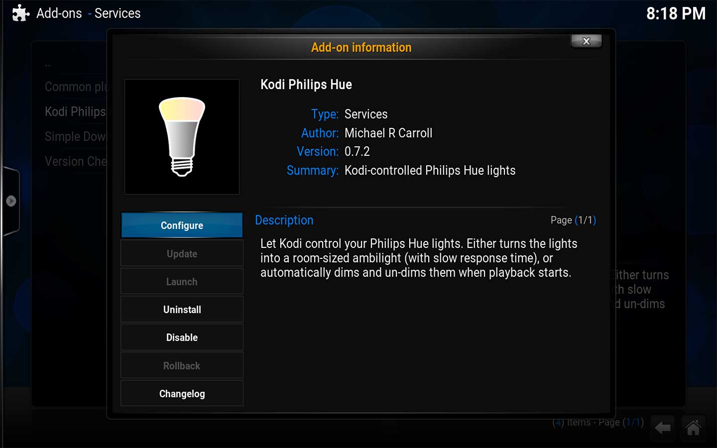 Kodi Phillips Hue Addon for Kodi
