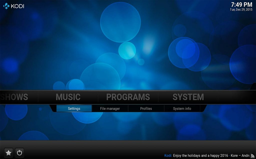 System menu in Kodi