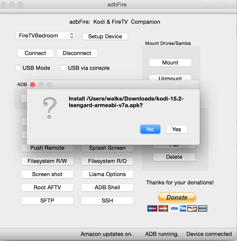 Yes To Install Kodi on ADBFire