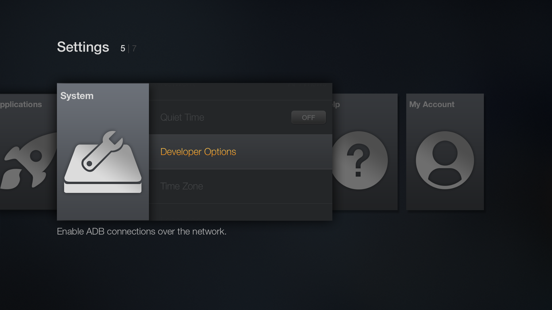 Developer Options on the Amazon Fire TV