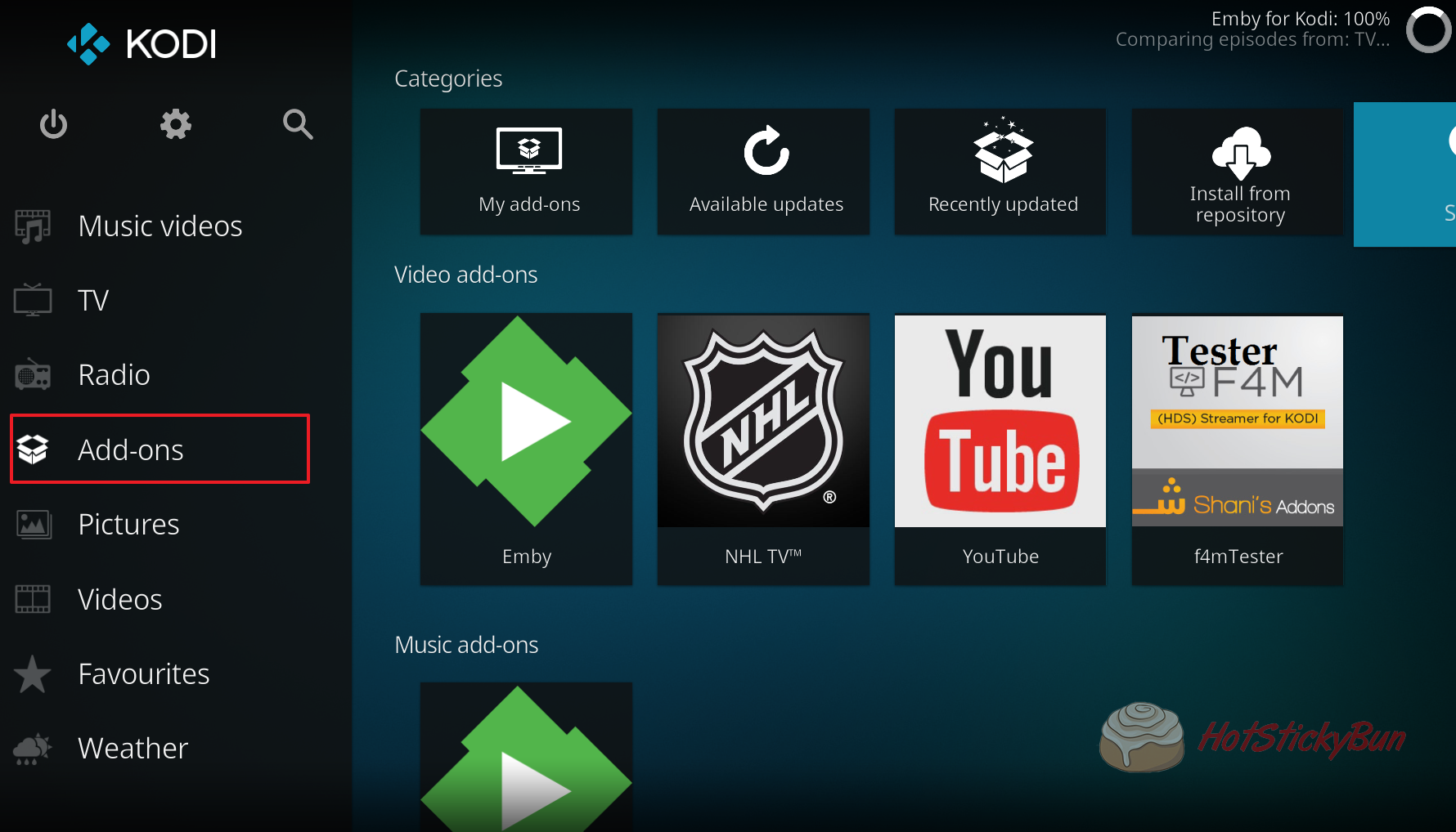 Click on the Kodi Addons Menu