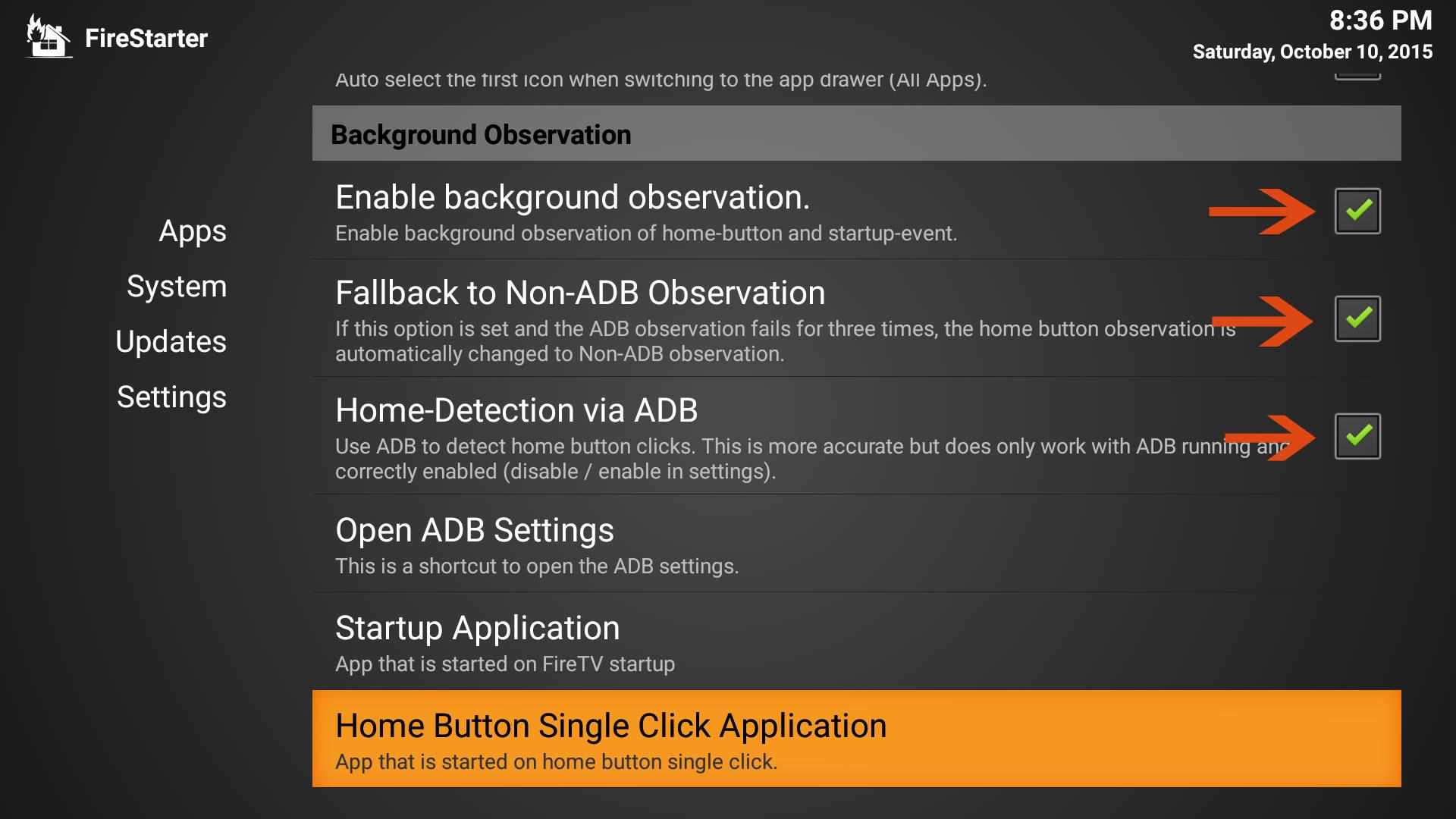 Firestarter Configuration Settings