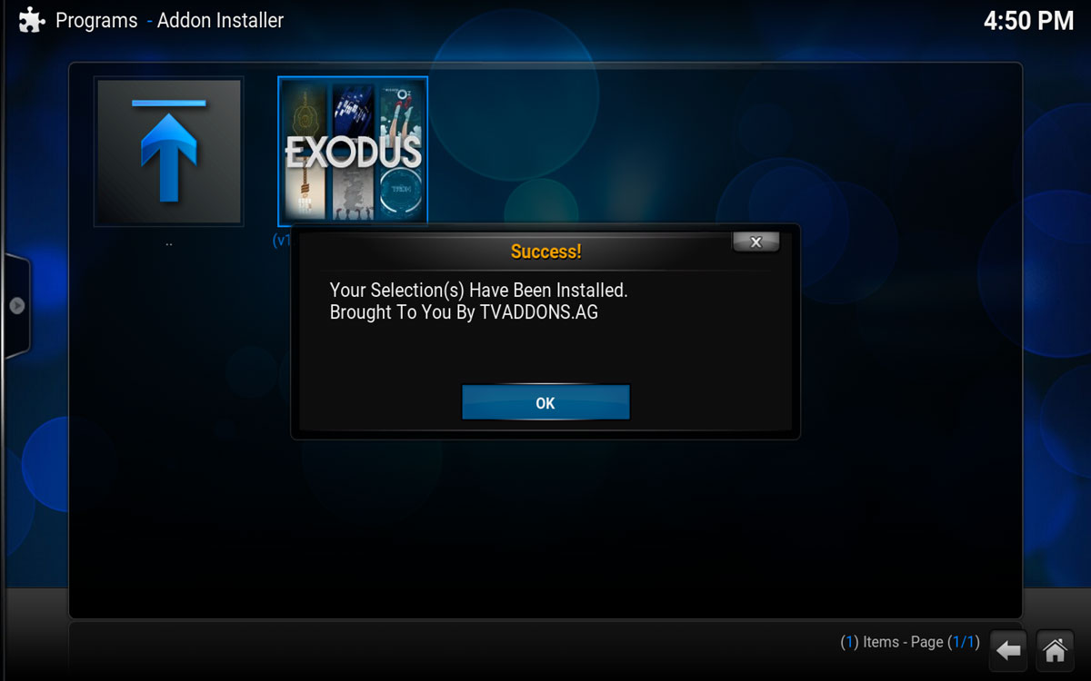 Final step installing Exodus into Kodi