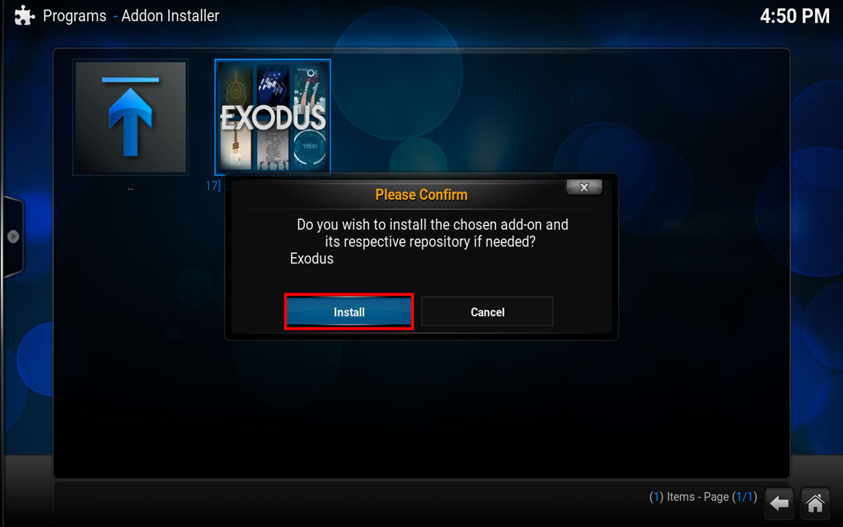 How To Install Exodus Into Kodi, click Install