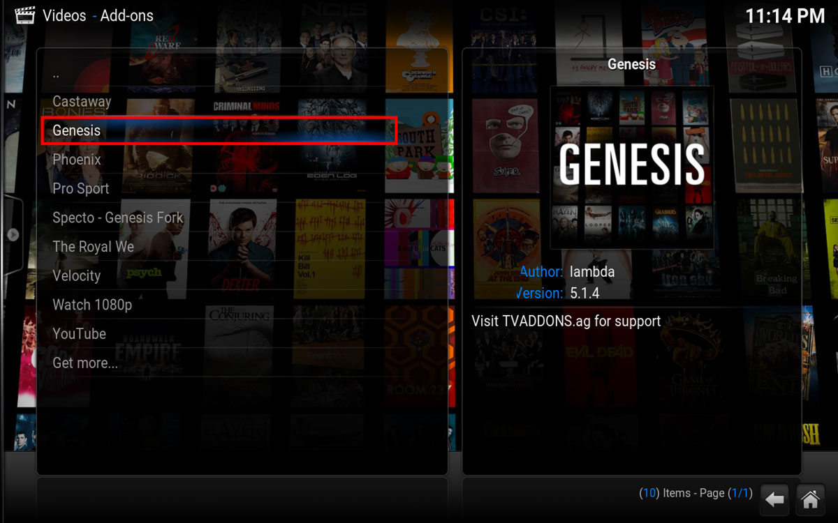 Open Genesis in Kodi