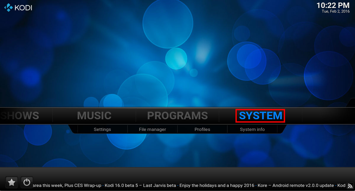 Browse To System in Kodi