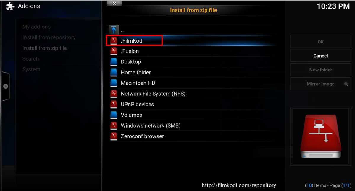 Choose the FilmKodi repository source