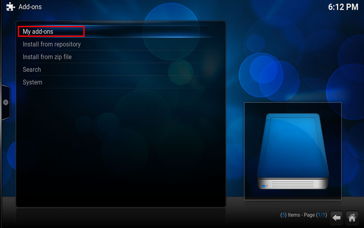 Be sure to highlight and select My Addons in Kodi