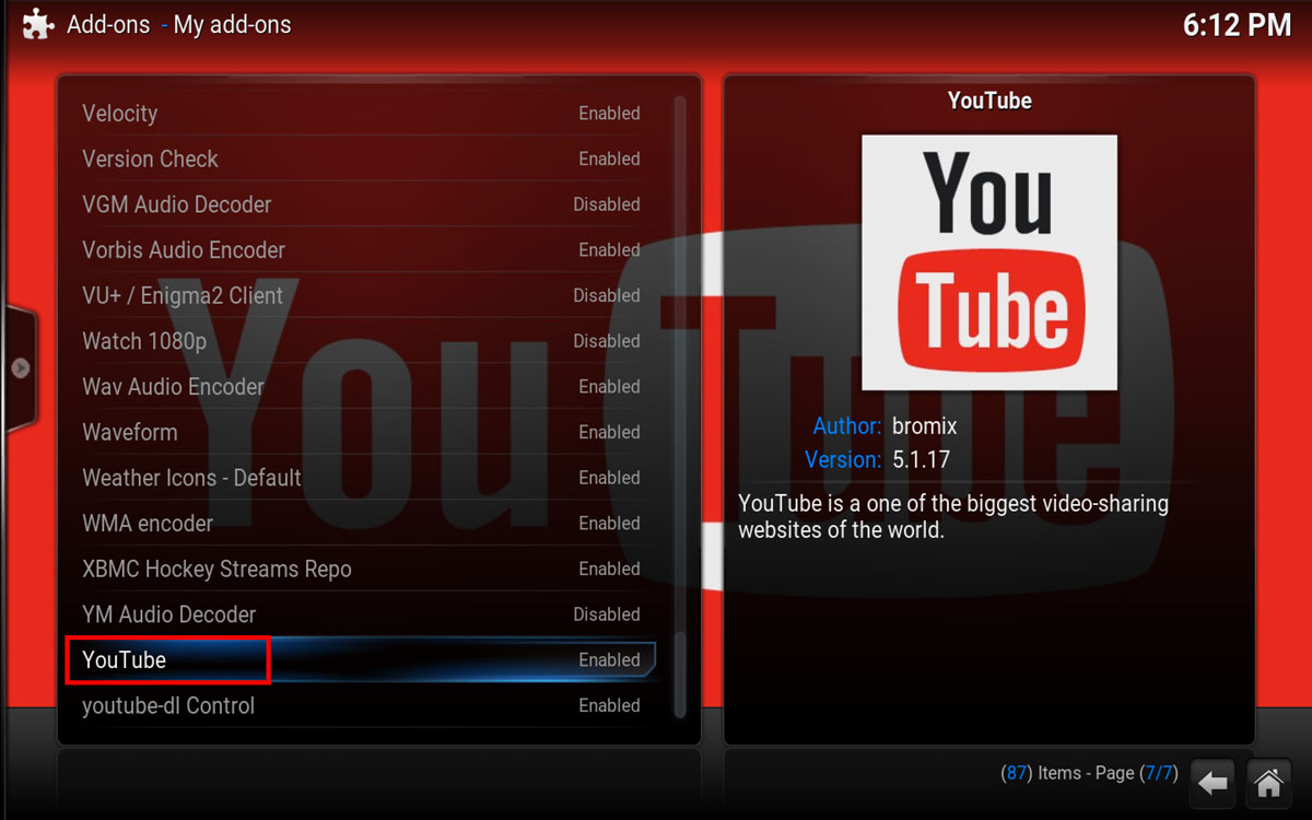 YouTube Addon in Kodi