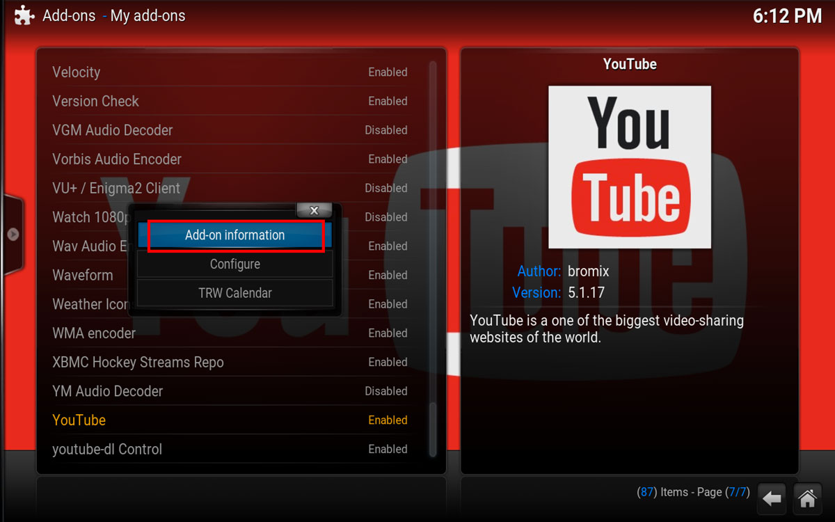 Kodi YouTube Addon Context menu