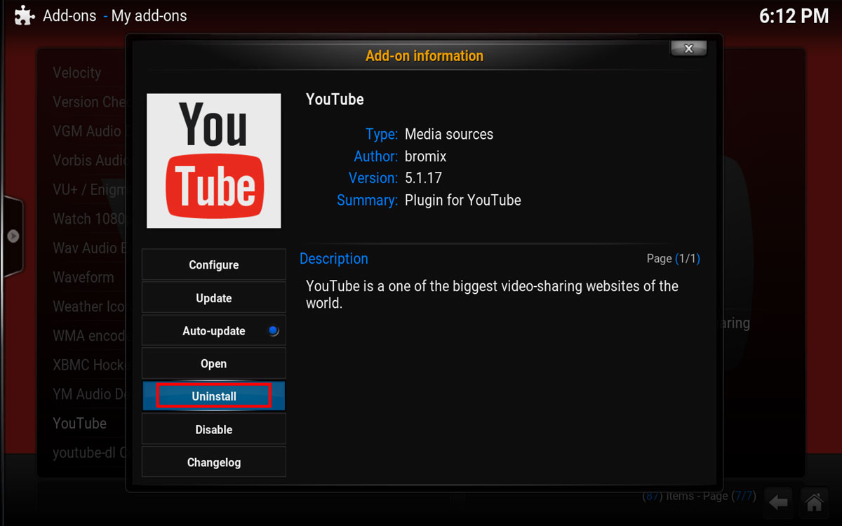 Uninstall YouTube Addon in Kodi
