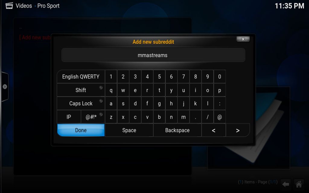 Add Your Own Sports in Pro Sport for Kodi Step 3