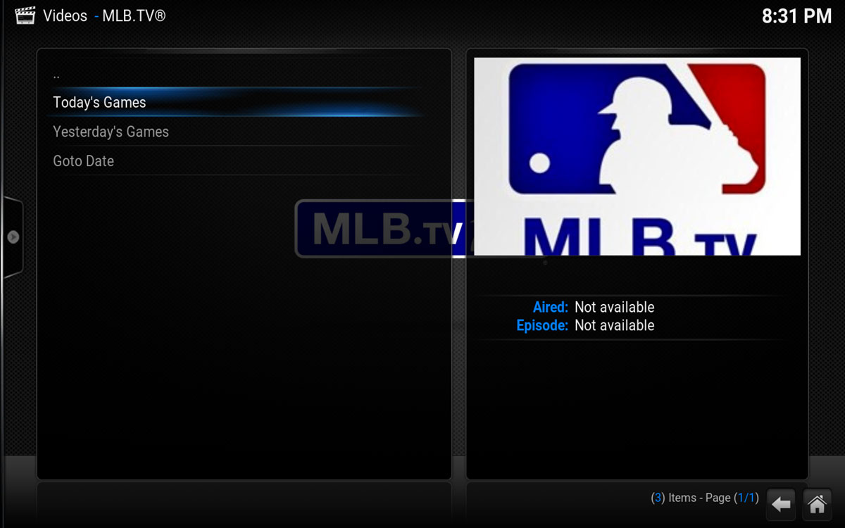 MLB.TV Intro Screen in Kodi