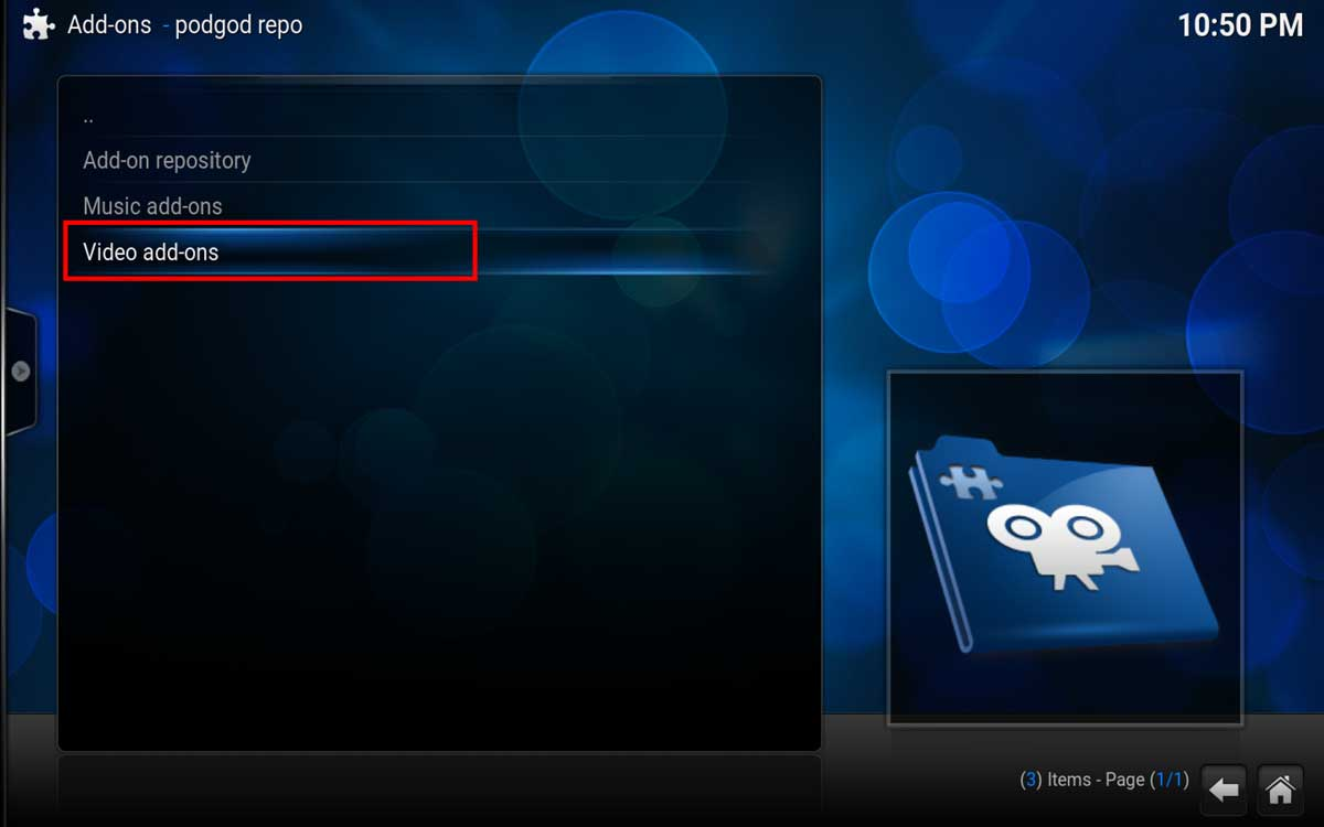 Install the Pro Sport Video Addon