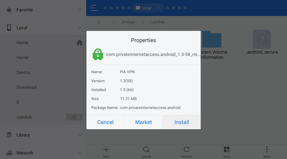 How To Install Private Internet Access APK with ES File Explorer, Step 4