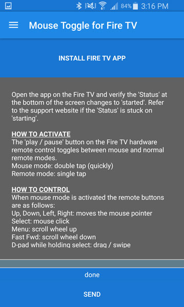 Instructions on how to use Mouse Toggle in Fire TV