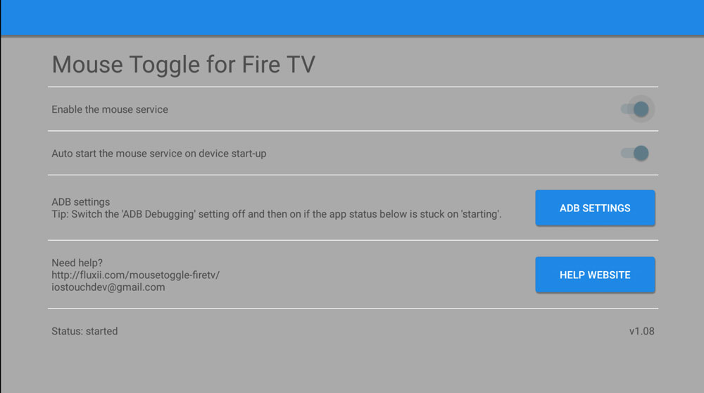 Mouse Toggle settings in the Fire TV