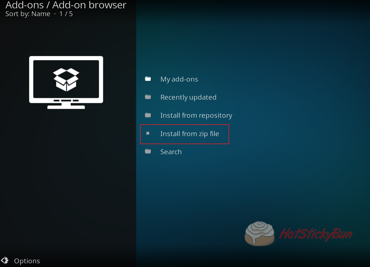 Install from zip file in Kodi