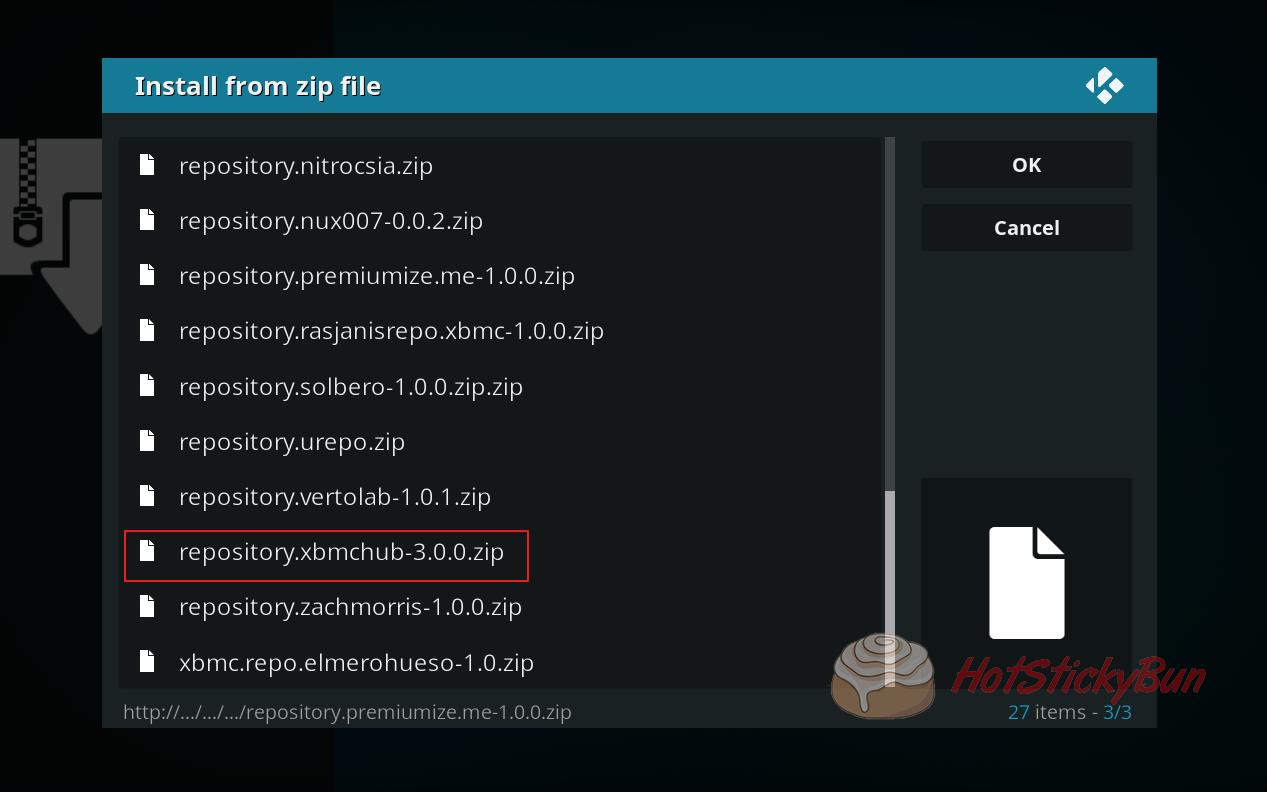 Install xbmchub repository