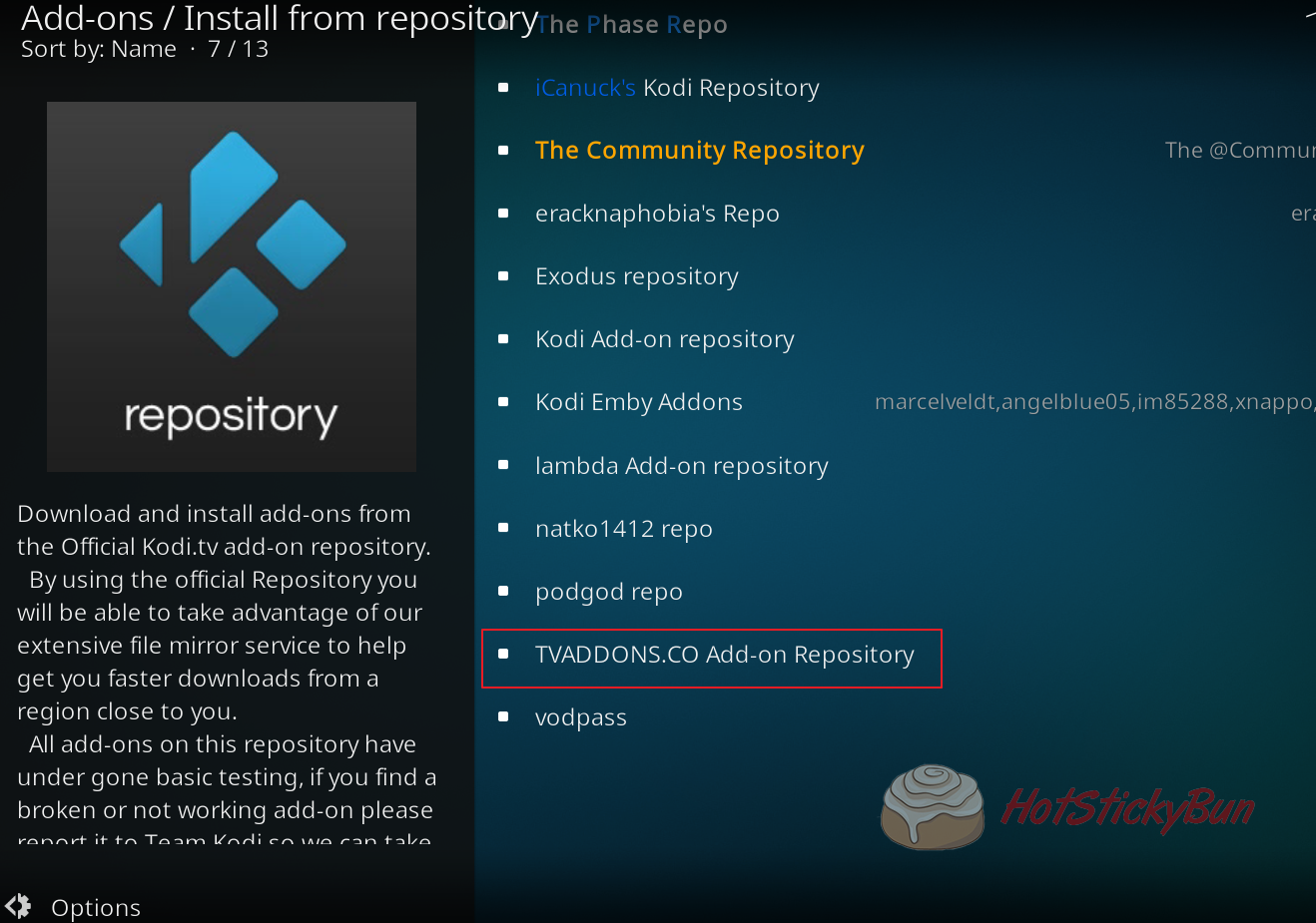 Select the Addons Repository